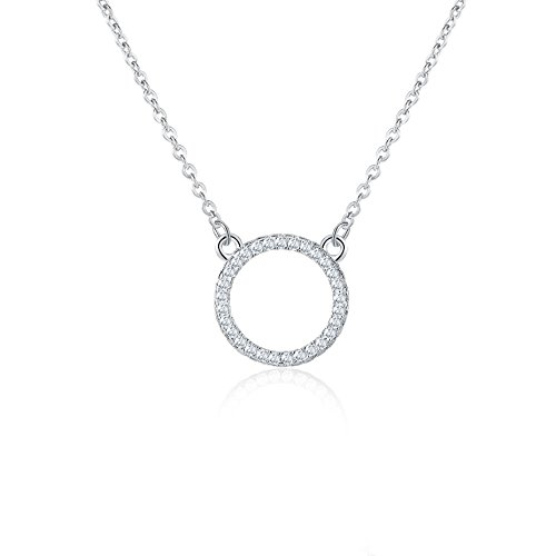 Rosa Vila Minimalist Open Circle Necklace - Circle of Life With Cubic Zirconia Stone Necklace for Women (Silver (Silver Open Circle Pendant)