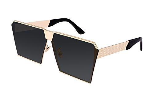 FEISEDY Square Mirrored Sunglasses Oversize Man Women Black - Shades Rhinestone