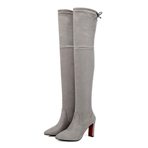 Stiletto Dos Gris Bout Lacets D'hiver Le Des Femmes Agodor Pointu Genou En Cuir Sur Automne Bottes Chaussures Nubuck Talons Hauts xOZH7wq8Z
