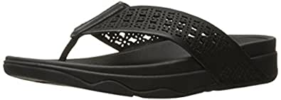 FitFlop Womens I39 Leather Lattice SurfaTM Floral Flip Flops Black Size: 5