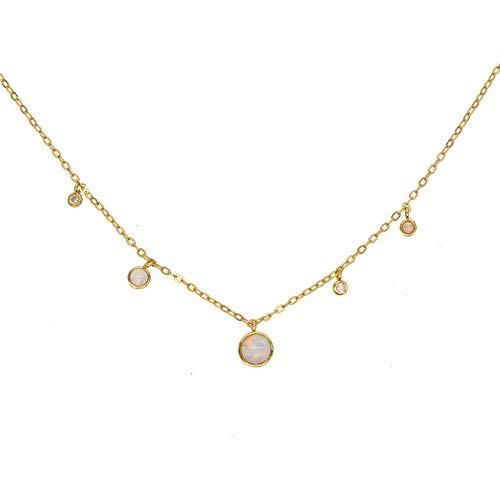Sterling Vermeil Minimal Round Cubic Zircon Opal Choker | Simple Charm Necklace