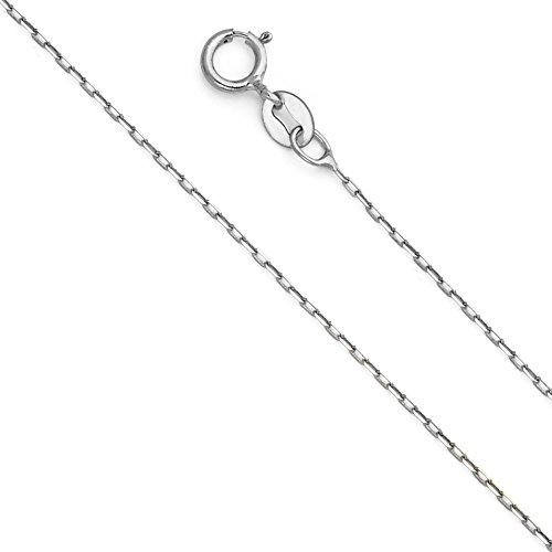 14k White Gold SOLID 1mm Oval Angled Cut - Gold Oval Cable Chain Shopping Results