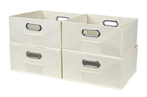 Niche A-FFLSB04BG Cheer Home Foldable Fabric Low Square Bins Collapsible Cloth Cube Storage Basket, Set of 4, Beige