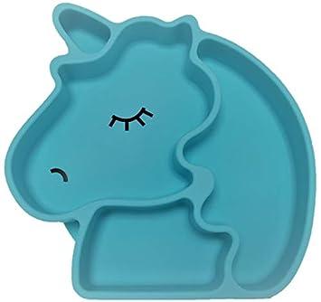 Silikonteller Einhorn mit Saugnapf und Unterteilungen rutschfest und am Tisch haftend sp/ülmaschinengeeignet Einhorn, blau BPA frei Kinderteller mikrowellengeeignet Babyteller bruchfest