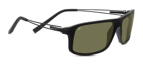 Serengeti Rivoli Sunglasses, Shiny/Matte Black Frame, Polarized 555nm Lens by Serengeti