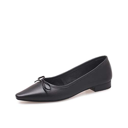 AIMENGA Zapatos Planos Zapatos De Fondo Plano Solos Zapatos De Mujer De Otoño Invierno Nuevos Modelos Cómodos De Fondo Plano Bow Shoes black