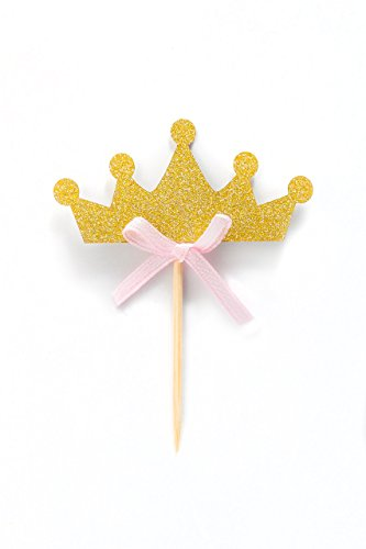 6f75da844 Tiara Crown Girl Birthday Party Cupcake Topper, 12 Pack Princess Crown  Cupcakes Toppers, Gold