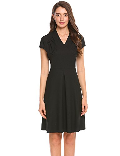 Misakia Women's Cap Sleeve 1950s Style Vintage V Neck A-line Dress,Black,XL