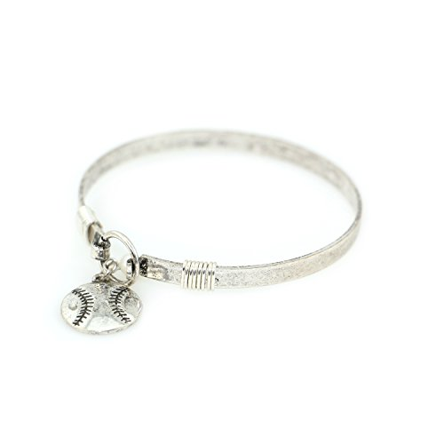 - Wonderent Baseball Charm Handmade Beautiful Bangle Bracelet with Wire Design and Bead (Silver Burnish)