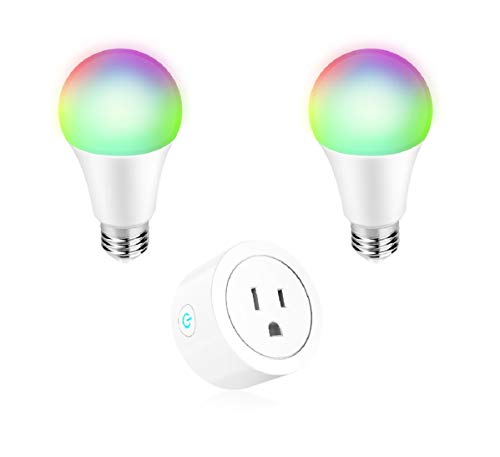 Smart Home Kit Mini WiFi Smart Plug and 2 A19 Smart Bulbs 60W Equivalent 16W RGB LED Light Dimmable Compatible with Alexa Google Home IFTTT