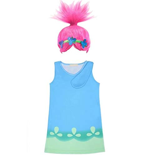 Girls Poppy Dress Troll Wig Set for Halloween Party Cosplay Costume