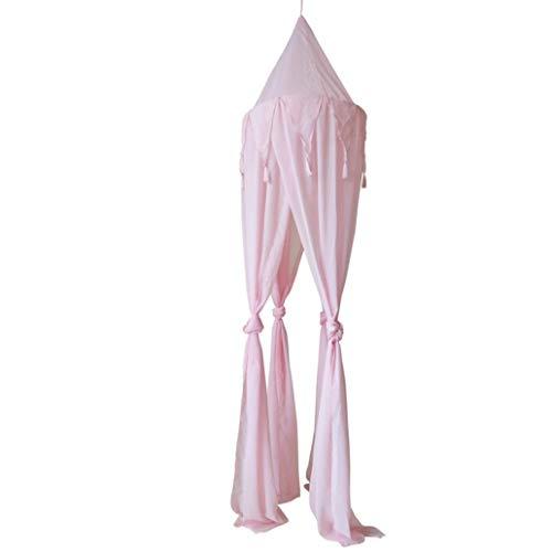 Beddings&Beddings Kukakoo Fashion 240cm Baby Room Bed Curtain Triangular Tassel Netting Chiffon Hung Mosquito Net - Pink