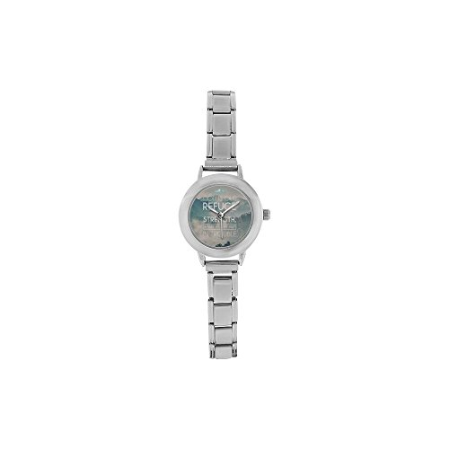 Hot Sale Watch God is our refuge - Bible Verse Round Italian Charm stainless steel Women's Watch