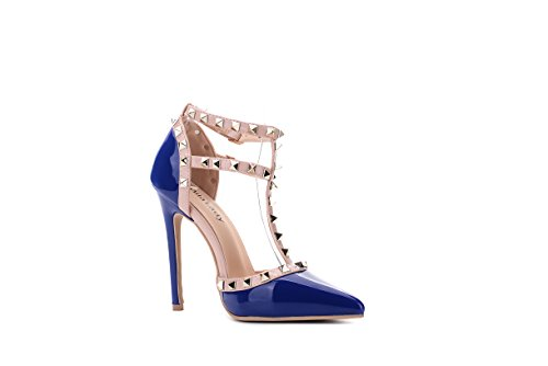 Mila Lady Ether08 Two-tone Patent Strappy Tobillo Con Plataforma Elegance Plataforma Lady Heeled Pumps Zapatos! R.blue