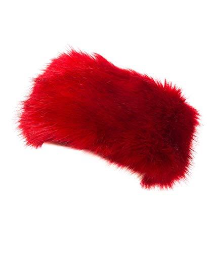 (Lucky Leaf Cozy Warm Hair Band Earmuff Cap Faux Fox Fur Headband with Stretch for Women (B1-Red))