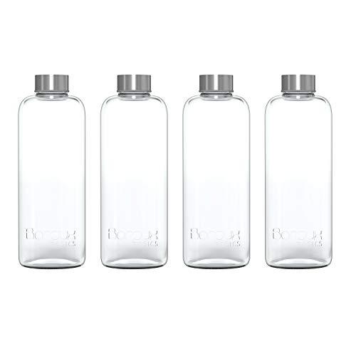 Boroux Basics 1 Liter Reusable Glass Water Bottles BPA/BPS Chemical Free, Premium Soda Lime Glass, 4 Pack of Reusable Drinking Bottles, Leak Proof Stainless Steel Cap. Great for Water, Juice,Kombucha