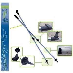 York Nordic Wave Series Hiking Poles – Adjustable 2 piece w/flip locks and detachable feet – Blue / Green, Outdoor Stuffs