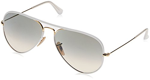 Ray-Ban Unisex RB3025JM - 146/32 Aviator Full Color Sunglasses White/ Gold - Clubmaster Ray White Ban