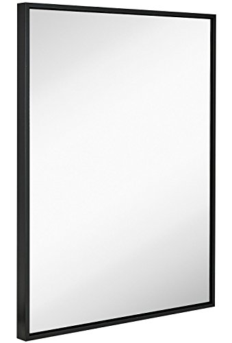 Hamilton Hills Clean Large Modern Black Frame Wall Mirror | Contemporary Premium Silver Backed Floating Glass Panel | Vanity, Bedroom, or Bathroom | Mirrored Rectangle Hangs Horizontal or Vertical