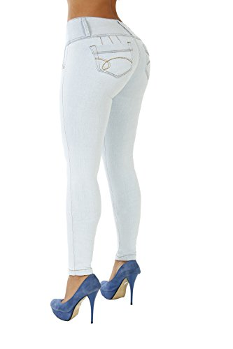 Apple Pocket Skinny Jean (Curvify High Waisted Butt Lifting Slimming Jeans For Women - Skinny Stretch Jean 766 (766, Ice Blue, 13))
