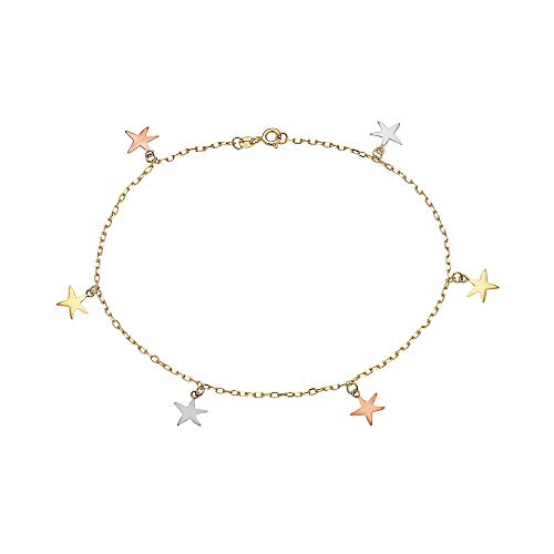Pori Jewelers 14K Solid Gold Tricolor Dangling Charm Anklets- Choose from Multiple Styles- 10
