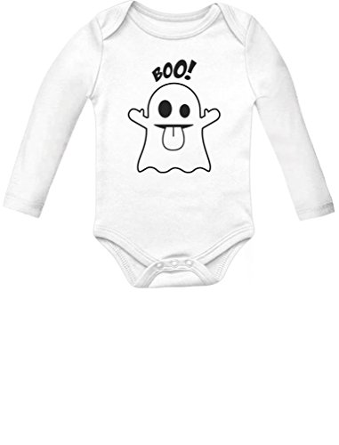 Baby Boo Ghost Costume Outfit Cute Halloween Infant Baby Long Sleeve Bodysuit 6M White