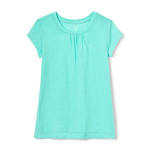 French Toast Girls' Toddler Short Sleeve Crewneck T-Shirt Tee, Trellis Aqua Heather ()