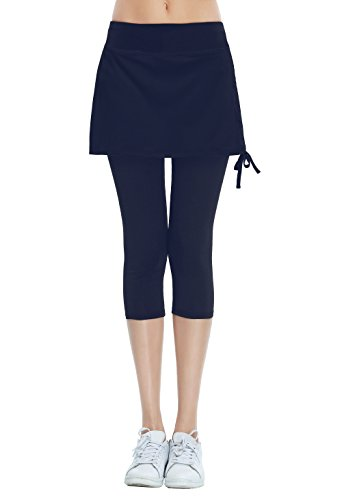 HonourSport Women's Cropped Golf Skorts Leggings Side Drawstring Running Capri Skirt(Navy,S)