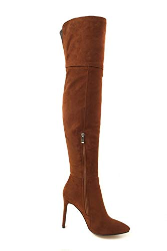 High Boots Knee Western Heel Carolbar Over The Women's Brown zEqa60a
