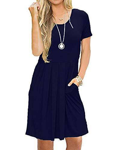 HUALAIMEI Short Sleeve Casual Jersey Knit Swing Dresses for Women Knee Length (Large, Midnight Blue)
