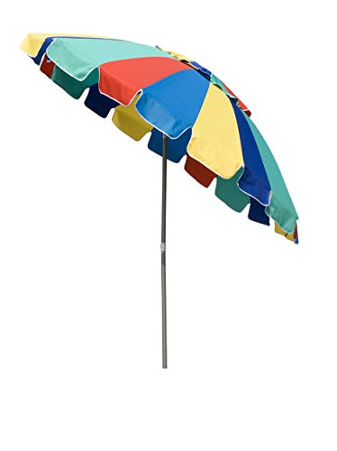 Panbay 8 FT 20 Panel Heavy Duty HIGH Wind Beach Umbrella - Giant 8' Beach Umbrella with Sand Anchor & Carrying Bag -Sturdy Pole and Thicker Fiberglass Ribs for High Wind Resistance Rainbow Color