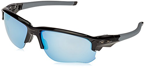 Oakley Men's OO9364 Flak Draft Rectangular Sunglasses, Polished Black/Prizm Deep H2O Polarized, 67 ()