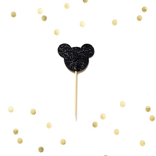Set of 10 - Black Glitter Mouse Ears Cupcake Cake Picks, Baby First Birthday Mickey Cake Topper, Metallic Party Decor, Baby Shower, Birthday -