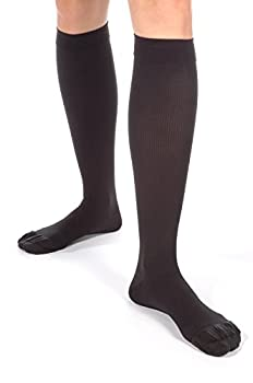 Microfiber Graduated Compression Socks for Men - X-Firm Support 30-40mmHg - Closed Toe – Made in the USA – Size: XL Color: Black Sku: A305
