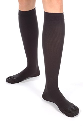 Made in USA - Absolute Support Compression Socks for Men 30-40 mmHg - Soft Microfiber Dress Support Socks - X-Firm - Closed Toe - Black; Size Large - SKU: A305BL3