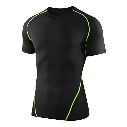 CAWANFLY Men's Compression Shirt Baselayer Short Sleeve Tops Cool Dry Skin Fit Athletic Workout T-Shirts Short Sleeve (Black & Green), M