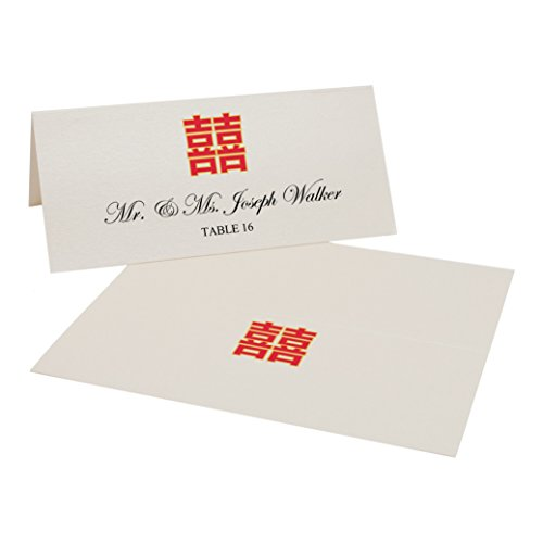 Chinese Double Happiness Easy Print Place Cards, Champagne, Set of 425 (107 Sheets) by Documents and Designs