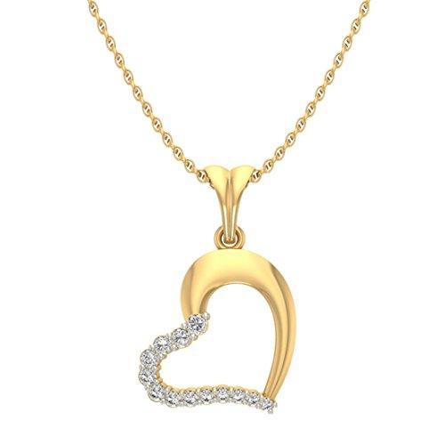 14K Or jaune 0,26CT TW Round-cut-diamond (IJ | SI) Cœur Diamant Pendentif