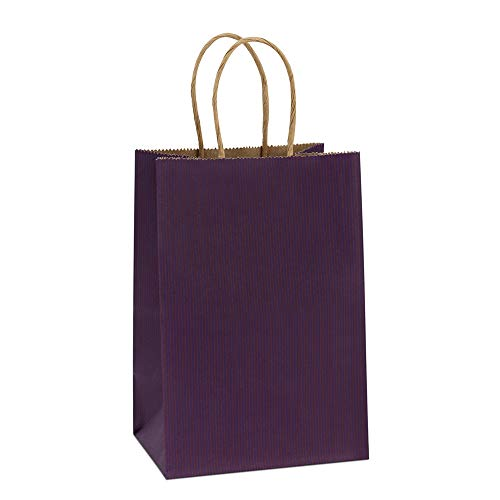 BagDream Kraft Paper Bags 100Pcs 5.25x3.75x8 Inches Small Paper Gift Bags with Handles Bulk Shopping Bags Party Bags Kraft Bags Purple Bags