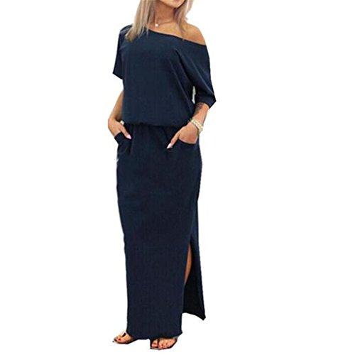 Women Dress,Haoricu Women Summer Elegant Long Maxi Evening Party Dress With Pocket (L, Navy blue)