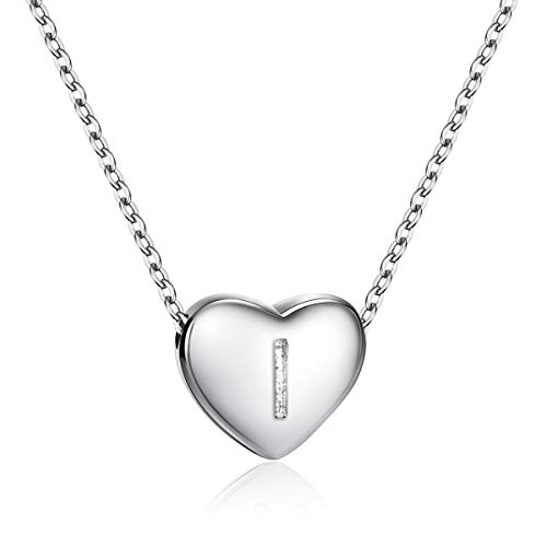Dainty Heart Initial Necklace S925 Sterling Silver Letters I Alphabet Pendant Necklace Birthday Gift for Granddaughter Dainty Sterling Silver Jewelry