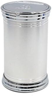 uxcell 灰皿 シルバートーン 自動車 ポータブル タバコ シリンダー ホルダーカップ ブルー ライト