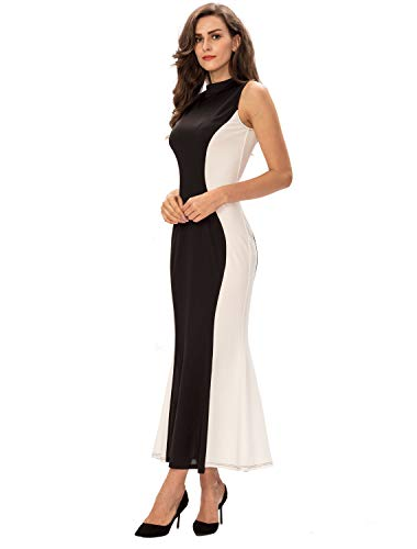 Noctflos Womens Elegant Mock Neck Illusion Fitted Fall Evening Gown Long Cocktail Dress