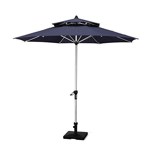 PURPLE LEAF 9 Feet Double Top Deluxe Patio Umbrella Outdoor Market Umbrella Garden Umbrella, Navy Blue ()