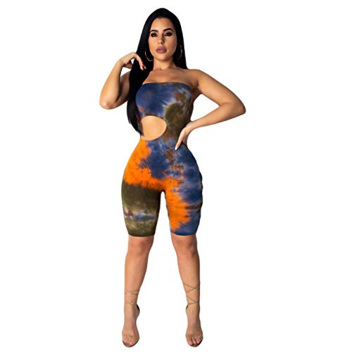 Womens Print Sexy Sveless Tank Tops Short Romper Sports Jumpsuit Bodysuit One Piece Short Catsuit Playsuit Orange]()