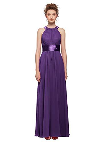 AW Women's Bridesmaid Dresses Long Jewel Neck Prom Dresses 2019 Chiffon Evening Formal Dresses, Regency, ()