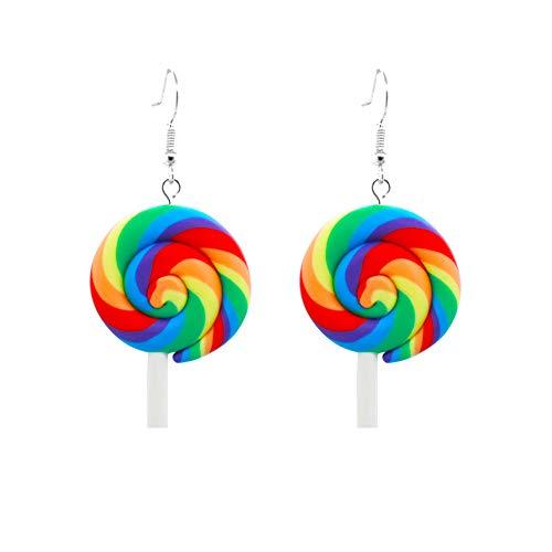Floralby Women Girls Rainbow Lollipop Candy Dangle Hook Earrings Party Club Jewelry Gift