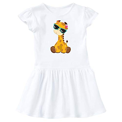 inktastic - Giraffe with Blue Sunglasses, Infant Dress 18 Months White 35a81