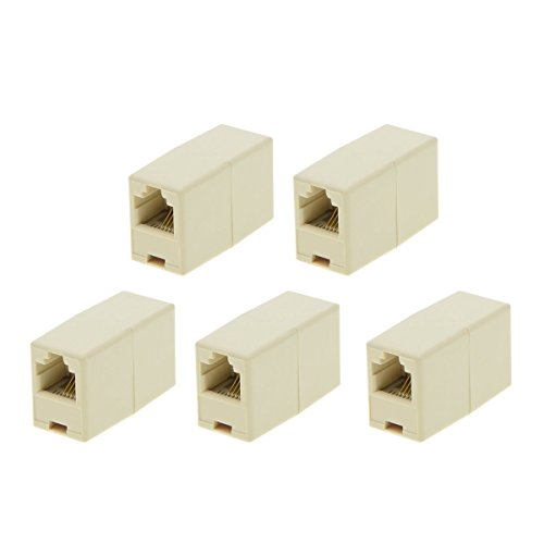 RJ11 8P4C Female to Female Telephone Inline Landline Coupler Straight Beige Plastic, 5Pieces