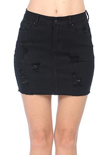 Wax Women's Juniors Casual Distressed A-Line Denim Short Skirt, Black, - Skirt Denim 12